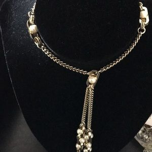 New DKNY Gold & Pearls Links Long Necklace